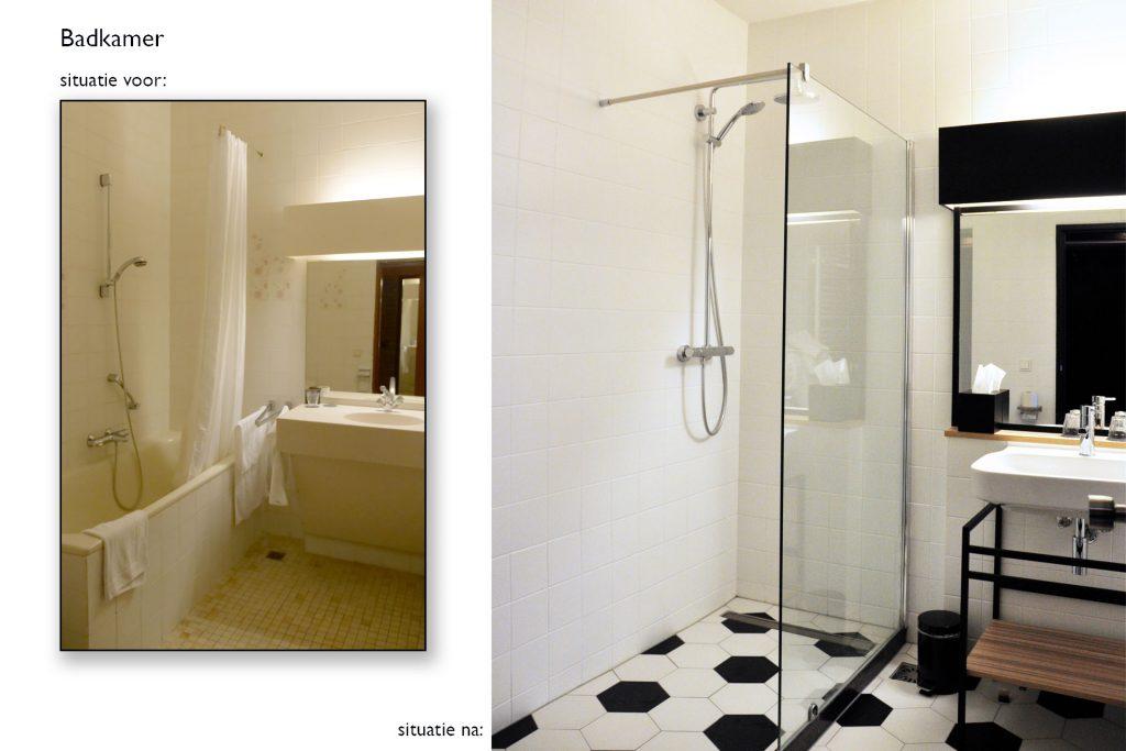 Badkamer Carlton de Brug situatie voor en na © Dusol Vastgoedonderhoud