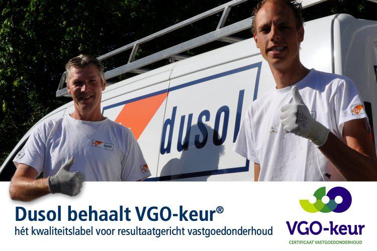 Dusol behaalt VGO-keur®, hét kwaliteitslabel voor resultaatgericht vastgoedonderhoud