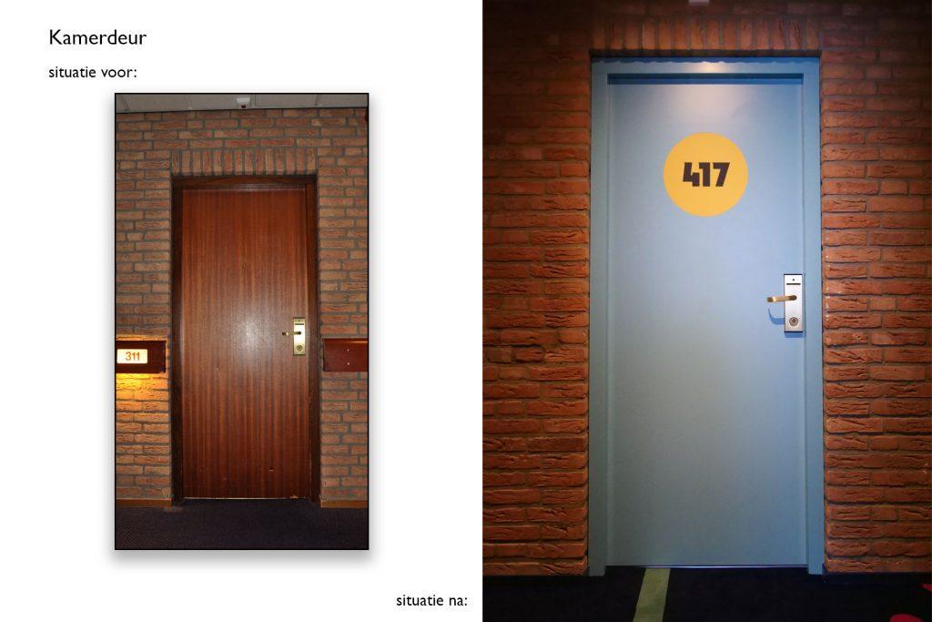 Kamerdeur Carlton de Brug - Situatie voor en na © Dusol Vastgoedonderhoud