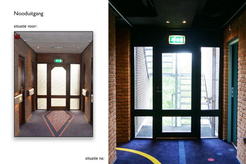 Nooduitgang Carlton de Brug - Situatie voor en na © Dusol Vastgoedonderhoud