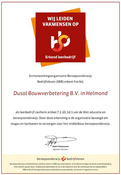 SBB Certificaat Erkend Leerbedrijf Dusol Bouwverbetering