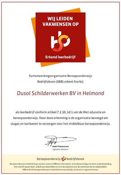 SBB Certificaat Erkend Leerbedrijf Dusol Schilderwerken